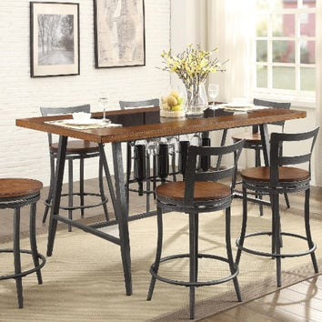 Homelegance HE-5489-36-7PC 7 pc Selbyville gunmetal gray black glass insert counter height dining table set