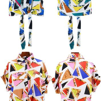 Retro Abstract Print Blouse