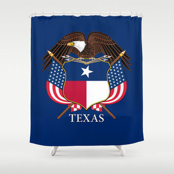 Texas flag and eagle crest - original design by BruceStanfieldArtist Shower Curtain by Bruce Stanfield