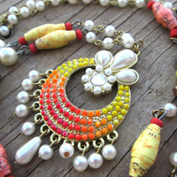 Neon necklace - Summer necklace - Bohemian jewelry - Hippie Gypsy jewelry - Colorful necklace - Pearl necklace - Modern Paper Bead Jewelry