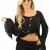 Round Up the Ruffles Crop Top in Black