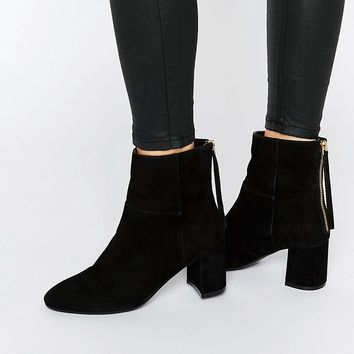 Faith Bae Suede Block Heeled Ankle Boots