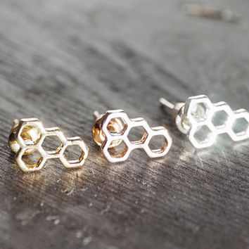 Gold, silver, rose gold tiny cluster modern honeycomb bees wax hexagon earrings (EA00014)