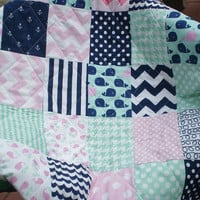Nautical Baby quilt,patchwork crib quilt,baby girl bedding,baby quilt,pink,navy blue,mint green,chevron,dot,toddler,anchors,waves,Whale Toss