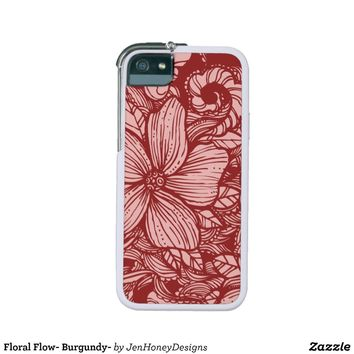 Floral Flow- Burgundy- iPhone 5 Cases