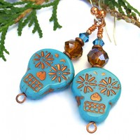 Turquoise and Copper Skull Earrings, Day of the Dead Halloween Dia de los Muertos Handmade Jewelry