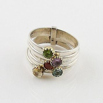 Mutli-Gemstone Sterling Silver Two Tone Stack Ring