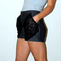 Preppy Denim Shorts with Lace Pockets