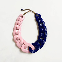 Two Color Statement Necklace, Chain Chunky Necklace, Pink Blue Necklace, Bi Color Necklace