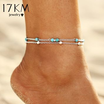 17KM Summer Style New Multi Layer Beads Pendant Anklet Foot Chain 2 Color Geometric Anklets Foot barefoot sandals Jewelry Gift