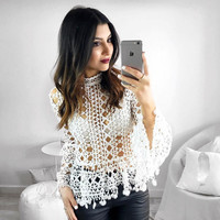 Fashion Turtleneck  Lace Lace Tops