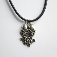 Gunmetal Skull Pendant with Rose, attached to a Black Leather Necklace, arrives with satin pouch