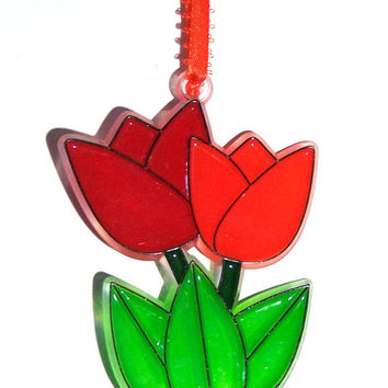 ORNAMENT - Tulip Duo - Acrylic - Red - Orange - Handpainted Home Decor