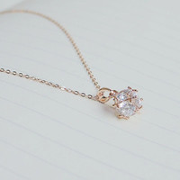 Cubic ball pendant necklace,Cubic charm necklace,Rose gold necklace,Everyday necklace,