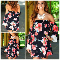 Blushing Gardens Black Floral Open Shoulder Dress