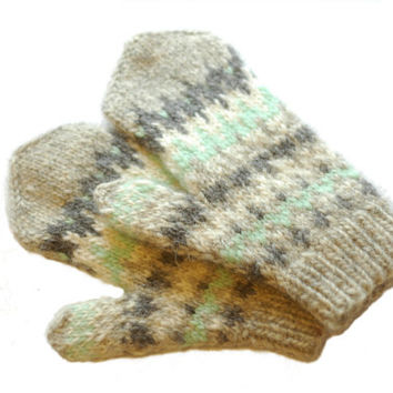 Chunky Warm Wool Mittens - Natural Grey and Mint Stranded Mittens in Icelandic Wool
