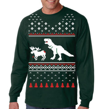 T-Rex Attack LONG SLEEVE Christmas Ugly Sweater T Shirt S-3Xl