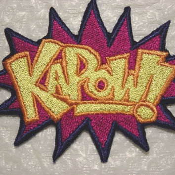 KAPOW - Comic Book Superheros Words FULLY Embroidered Patch - applique - Made in USA - 2 Sizes