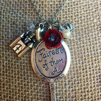 Silver Pendant Necklace Inspired by Snow White--Red Rose Charm-- Castle Charm