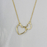 925 sterling silver Double love heart necklace,a simple perfect gift !