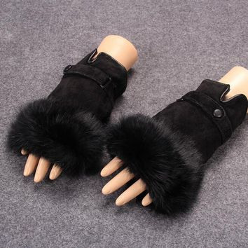 Autumn and winter women's sexy fingerless gloves lady's genuine leather rabbit fur mittens winter warm leather gloves R026