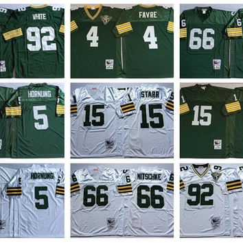 Men Throwback 15 Bart Starr Jersey 4 Brett Favre 66 Ray Nitschke 92 Reggie White 5 Paul Hornung Retro Jerseys Green White Hot Sale