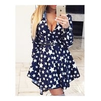 Polka Dot Swallow-tailed Pleated Short Dress  five-pointed star   S