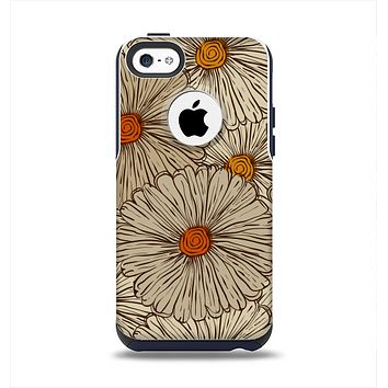 The Tan & Orange Tipped Flowers Pattern Apple iPhone 5c Otterbox Commuter Case Skin Set