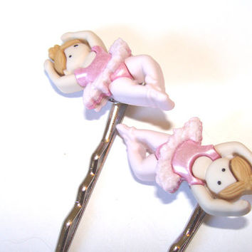 Ballerina Bobby Pins Set of 2 Blonde Dancer In Ballet Pose With Pink Tutu Girls Hair Fashion