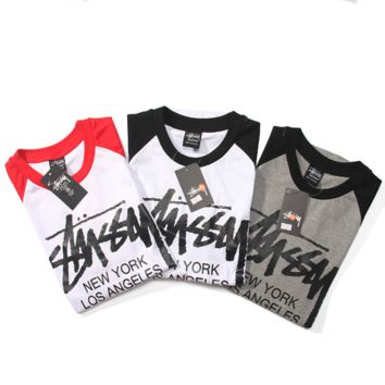 """""""STUSSY""""HOT!print splicing round neck 7 minutes of sleeve T-shirt"""