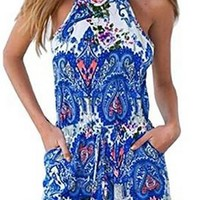 US-Lady Women's Bohemian Print Floral Halter Jumpsuit Playsuit Rompers