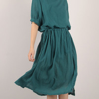 Short Sleeve Blouson Ruffled Mid Dress