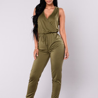 Tough Chick Surplice Jumpsuit - Olive