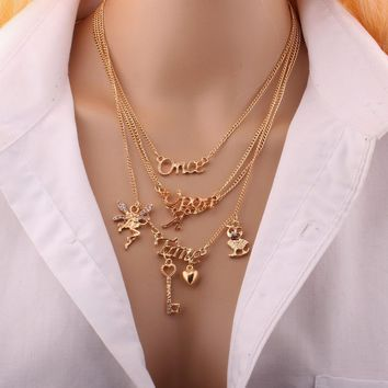 """style summer 4 layers """"Once A Time"""" pendant necklace gold necklace Multilayer angle key owl pendant necklace"""