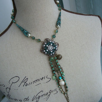 Art Nouveau Pendant Necklace - Ooak Statement Necklace with Handmade Pendant and Crystal Strand