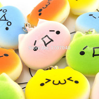 1PCS Kawaii Squishy Bread Japanese Kaomoji Expression Totoro Phone Straps Kids Gift Toy