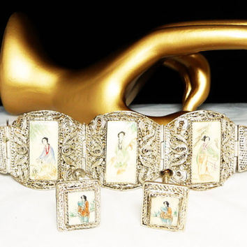 Antique Chinese Export Ox Bone Silver Filigree Giesha Woman Scrimshaw Bracelet & Earring Vintage Set