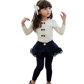 2017 Autumn Kids Children Shirts Solid Cotton Long Sleeve Bow Girl shirts all for kids clothes and accessories Girl Blouse 2-10y