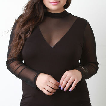 Choker Mesh Ruched Side Top