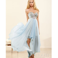 Ice Blue Strapless High-Low Prom Dress