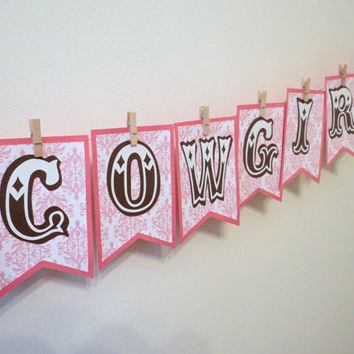 Pink Western Cowgirl Banner - Birthday, Shower, Gender Reveal