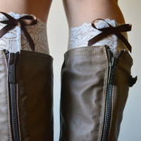 Lace Bow boot cuff - Ivory Peek a Bow Back Lace Boot Cuffs - Ivory floral boot cuff accessories