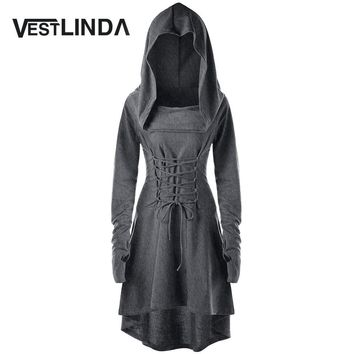 VESTLINDA Bandage Back Vestidos Costume Robe Femme Women Winter Fashion Casual Lace Up Hooded Asymmetrical High Low Hooded Dress