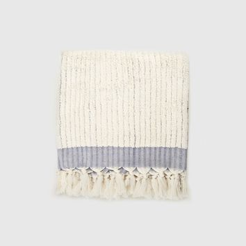 Turkish Bath Towel - Navy/Ivory