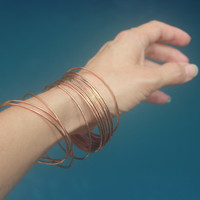 Copper Bangles, SET OF 15, Handmade hammered reclaimed copper wire, Organic stacking Bangles, Statement jewelry