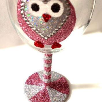 Glitter owl wine glass