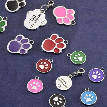 dog name tag for cat small Round dot id  tag and Paw Tag customized engraving information any text  military