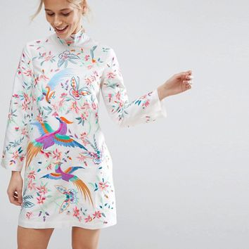 ASOS Embroidered Bird Taffeta Mini Dress at asos.com