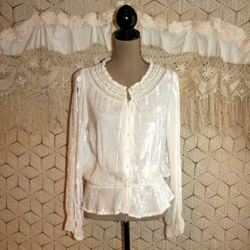 White Velvet Blouse Bohemian Romantic Poet Blouse White Blouse Edwardian Gypsy Clothing Boho Grunge Top Lacy Ruffled Medium Womens Clothing