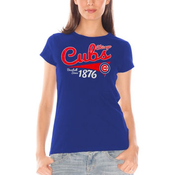 Chicago Cubs Women's Cap Sleeve Fashion T-Shirt – Royal Blue